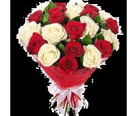 21 Роза Микс (Красная, Белая)