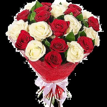Букет из 21 Розы (Красная, Белая)